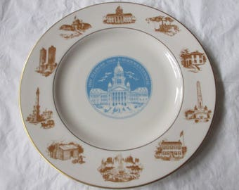 "Pickard China for Marshall Field, 10-5/8"" ILLINOIS Sesquicentennial Plate, 1818-1968"