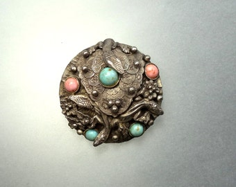 Antique Victorian Serpent Snakes Large Brooch Sash Pin Czech Glass Coral Turquoise Cabochons