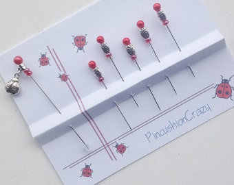 Ladybug Pins - Decorative Sewing Pins - Pincushion Pin - Scrapbook Pins - Cardmaking Pins - Invitations Pins - Tack Board - Sewing