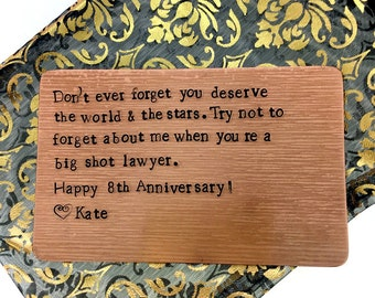 Bronze Anniversary Gift, Boyfriend gift, Wallet Insert Card - Personalized Hand Stamped, Husband Gift, 8 Eight Year Anniversary