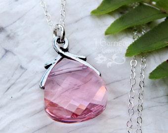Light Rose Swarovski crystal briolette necklace - sterling silver chain - pink crystal teardrop