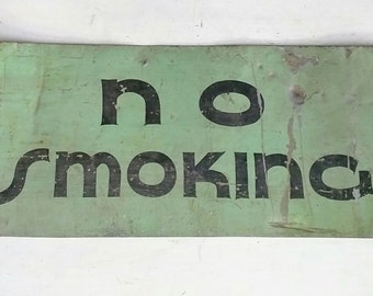 Vintage No Smoking Sign/Metal Industrial 1970's Large Metal Sign/Fire Safety