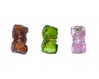 Glass Twist Beads x 12