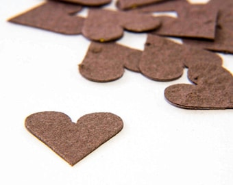 "200 Brown Plantable Seed Paper Hearts ""Let Love Grow"" Eco Wedding Favor Bridal Shower Favor Thank You Card Invitation Affordable Party Favor"