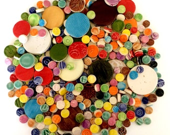 Mosaic Tile Circles - 1 lb High Fired Ceramic Tiles - Mixed Bag