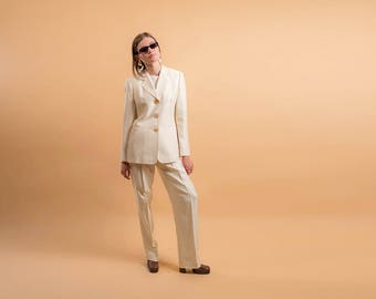 Vintage 90s Minimalist Pant Suit / High-Waist Pleated Pants / Minimalist Blazer / Gianfranco Ferre Suit Δ size: S