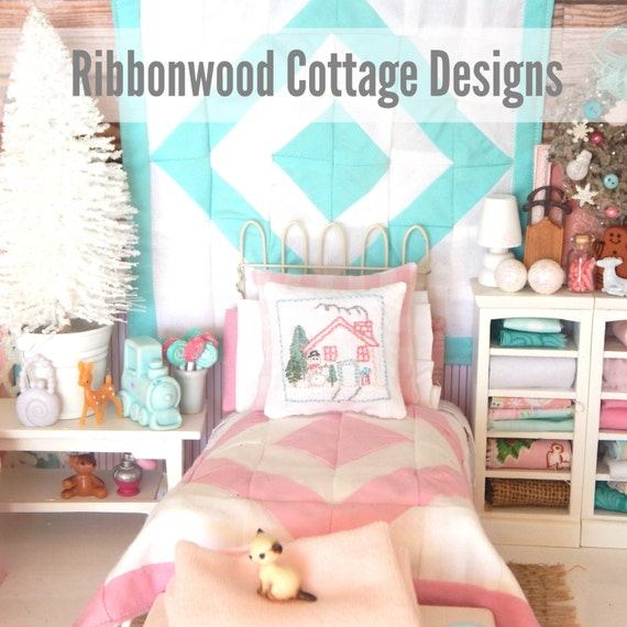 Sewing Pattern Miniature Dollhouse Pink and White Quilt, Sheet, Pillowcases, Snowman Embroidery Pillow PDF Pattern -