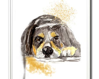 Limited edition dog print from original painting by Paula Jeffery. A great gift for a dog lover.  Art print, watercolour art.