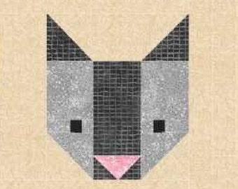 Cat Quilt BLOCK Pattern, PDF, Instant Download, modern patchwork, pet, animal, cute, kitten