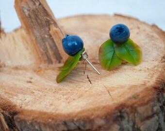 Botanical jewelry Blueberry tiny studs Delicate earring studs Blueberry wedding jewelry Miniature food jewelry Ear studs gift Fruit earrings
