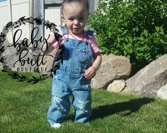 Girls distressed overalls/ripped ovaralls/baby girl/light denim/classic style/removed pocket/photo prop/baby gift
