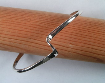 Sterling Silver Twist Cuff, Hand made Solid Silver Bracelet