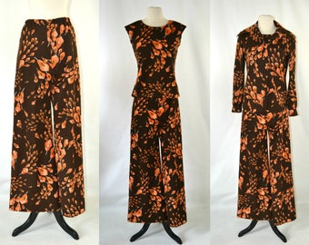 1970s Brown and Orange Calla Lily Print Three Piece Pantsuit, Pants, Sleeveless Blouse, Long Sleeve Blouse, Disco Outfit