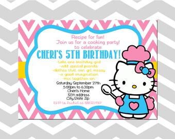 Hello Kitty Chef Invitation/Card Hello Kitty Baking Invitation/Card Hello Kitty Cooking Invitation Hello Kitty Birthday Party Invitation