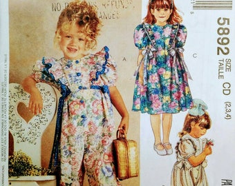 Girls Party Dress and Romper Pattern McCall's 5892 size 2-4