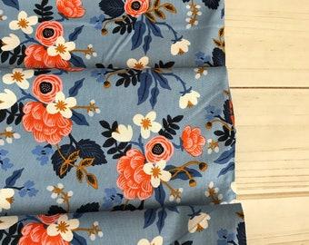 Les Fleurs ~ Birch ~ Rifle Paper Company for Cotton + Steel ~ Periwinkle 100% Cotton