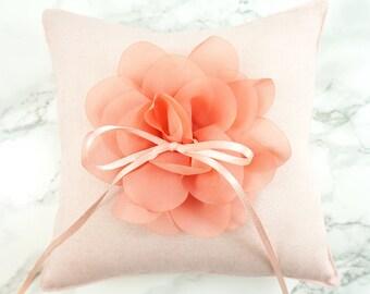 Wedding Ring Pillow / Ring Bearer Pillow / Lt. Pink Linen Ring Pillow with Chiffon Flower / Rustic Ring Pillow / Linen Ring Bearer Pillow