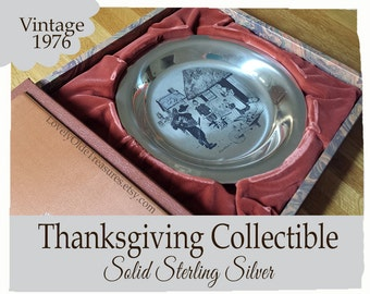 CLEARANCE Thanksgiving Collector Plate - Solid Sterling Silver Plate- 1976 Franklin Mint Collectible- Sat Evening Post Artist Stevan Dohanos