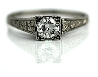 "Antique Diamond Ring Vintage 1930's Old European Cut Diamond Engagement Wedding Anniversary Ring Platinum ""The Loli"""