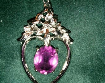 Rhodium Plated Silver Pendant With Amythist Coloured Crystal