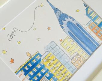 Custom New York Skyline Art - Chrysler Building - Custom Nursery Art - New York Kid Gift