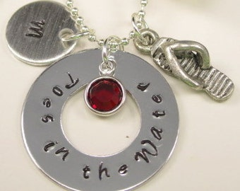 Beach Necklace Personalized Hand Stamped Necklace Hand Stamped Jewelry Hand Stamped Toes in the Water
