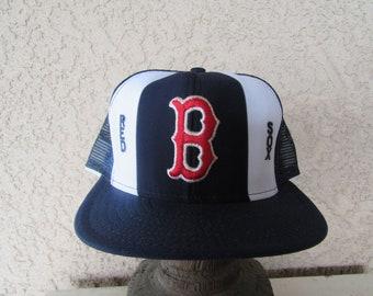 1980s Boston Red Sox Trucker Cap, baseball Cap, Hat, Mesh Snapback Hat Cap, Size Large Adjustable One SIze 80s