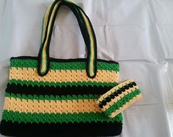 Elegant crochet shoulder purse comes with a matching coin purse