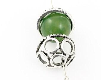 10 bead caps antique silver /20mm  #FIN001