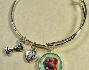 Mastiff Bangle, Mastiff Bracelet, Mastiff Jewelry, Mastiff Gifts, Mastiff Mom Gifts, Mastiff Lover Gifts, Jewelry with Mastiff