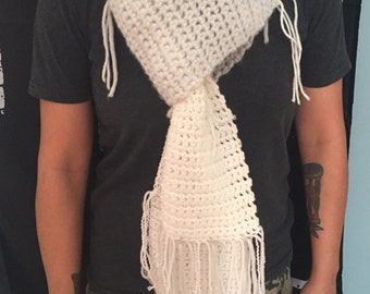 Very long white winter scarf