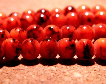 50 glass beads speckled marble - 6 mm - red-orange PF79