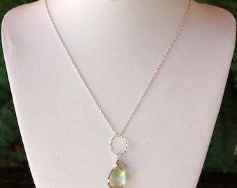 Green Amethyst, Prasiolite, Necklace, Sterling Silver, February Birthstone, Minimalist Green Gemstone, Teardrop, Dainty Necklace, Layering