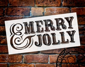 Merry and Jolly - Word Stencil - Select Size - SKU: STCL674