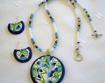 Light Blue, Dark Blue, White and Lime Green Geometric Abstract Pattern Round Lightweight Polymer Clay Pendant and Earring Set