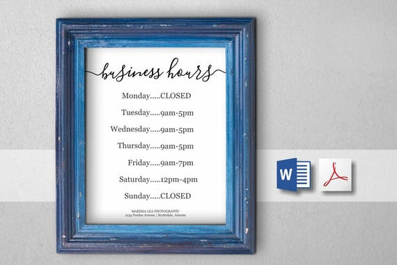 Business hours sign printable template hours of operation friedricerecipe Image collections
