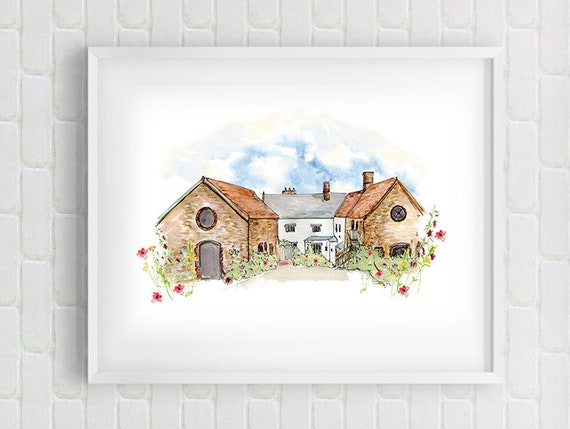 Wedding or House Venue Illustration - perfect gift - anniversary gift - gift for couples - wedding - bridesmaid - personal illustration