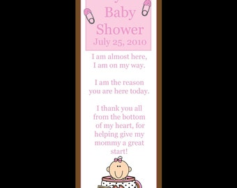 50 Personalized Baby Shower Bookmarks   - Tea Cup Baby - Baby Shower Bookmark - Shower Favor