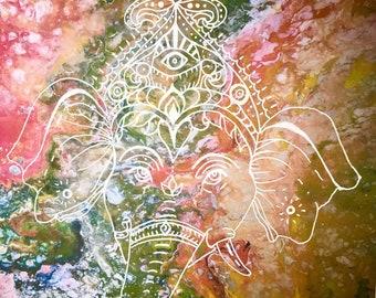 Ganesha Hindu God art print, A4 boho tie dye style, meditative meditation art work, relaxation room, retreat, elephant god picture