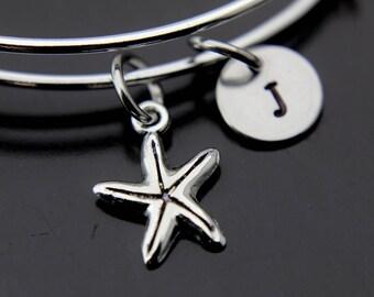 Starfish Bracelet Silver Starfish Charm Bangle Starfish Charm Starfish Jewelry Personalized Bracelet Initial Charm Initial Bangle