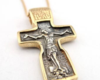 Sterling Silver & 24K Gold Plated  Russian Orthodox Cross. Hand made massive cross. Gift , christmas !!! (c 4012)
