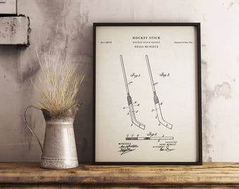 Hockey Stick patent print art - Vintage printable patent poster artwork drawing - Instant Digital download - Wall art decor - Blueprint