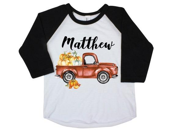 Boy Pumpkin Truck Shirt Personalized Raglan Fall Boy Shirt Pumpkin Patch Shirt Halloween Shirt Boy Truck Shirt Old Rust Orange Truck Fall