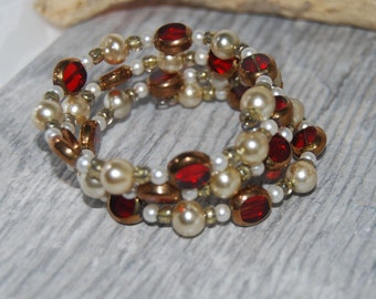 Red Glass Bead and Pearl Multistrand Memory Wire Bracelet