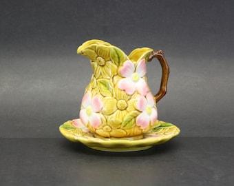 Vintage Pink Dogwood Blossom Pitcher and Plate (E7719)