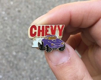 Vintage Lapel Pin or Hat Pin - Chevy - Purple Monster Truck - 1988