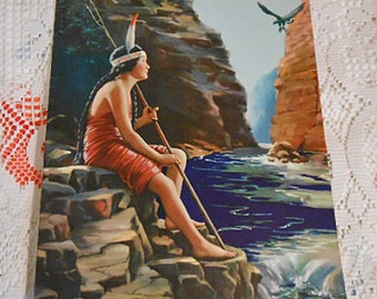 NATIVE AMERICAN & EAGLE Litho Print, Rich Vibrant Color Rocky Cliffs, Natural River Scene, Fishing Spear, Original 1920s Signed Art to Frame