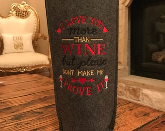 Embroidered Wine Bags