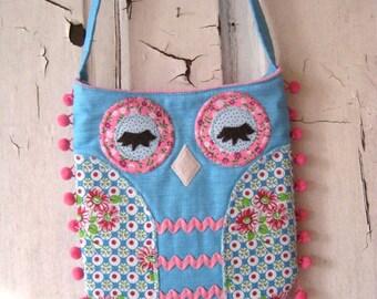 Handmade OWL TOTE HIPPIE Handbag