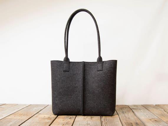 Wool Felt TOTE BAG / charcoal bag / dark grey bag / womens bag / felt shoulder bag / carry all bag / made in Italy